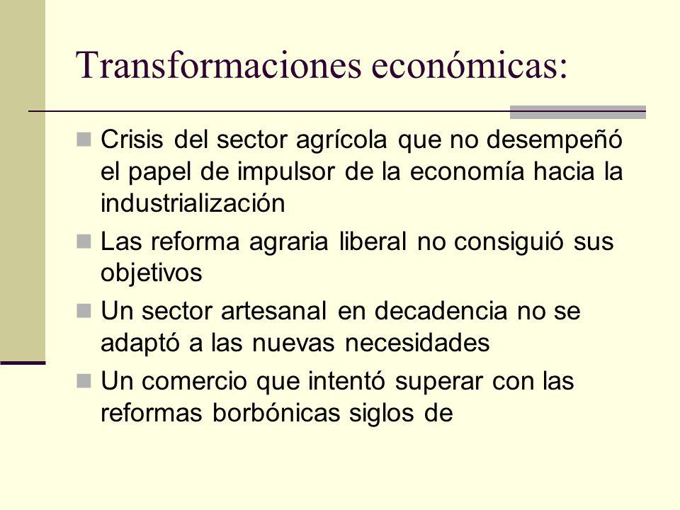 Transformaciones económicas: Crisis del sector agrícola que no desempeñó el papel de impulsor de la economía hacia la industrialización Las reforma ag