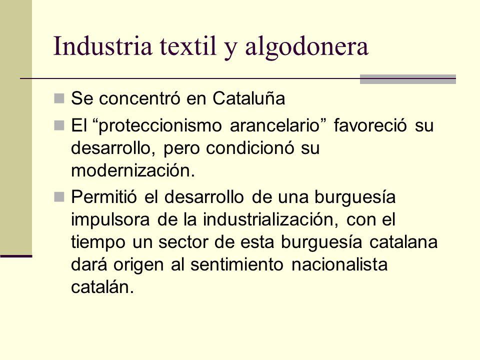 Industria textil y algodonera Se concentró en Cataluña El proteccionismo arancelario favoreció su desarrollo, pero condicionó su modernización. Permit