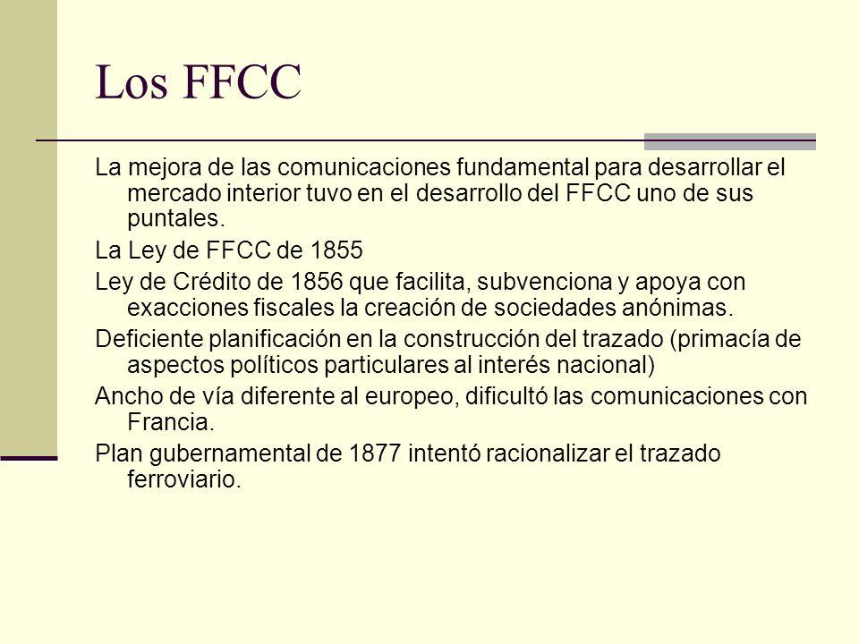 Los FFCC La mejora de las comunicaciones fundamental para desarrollar el mercado interior tuvo en el desarrollo del FFCC uno de sus puntales. La Ley d
