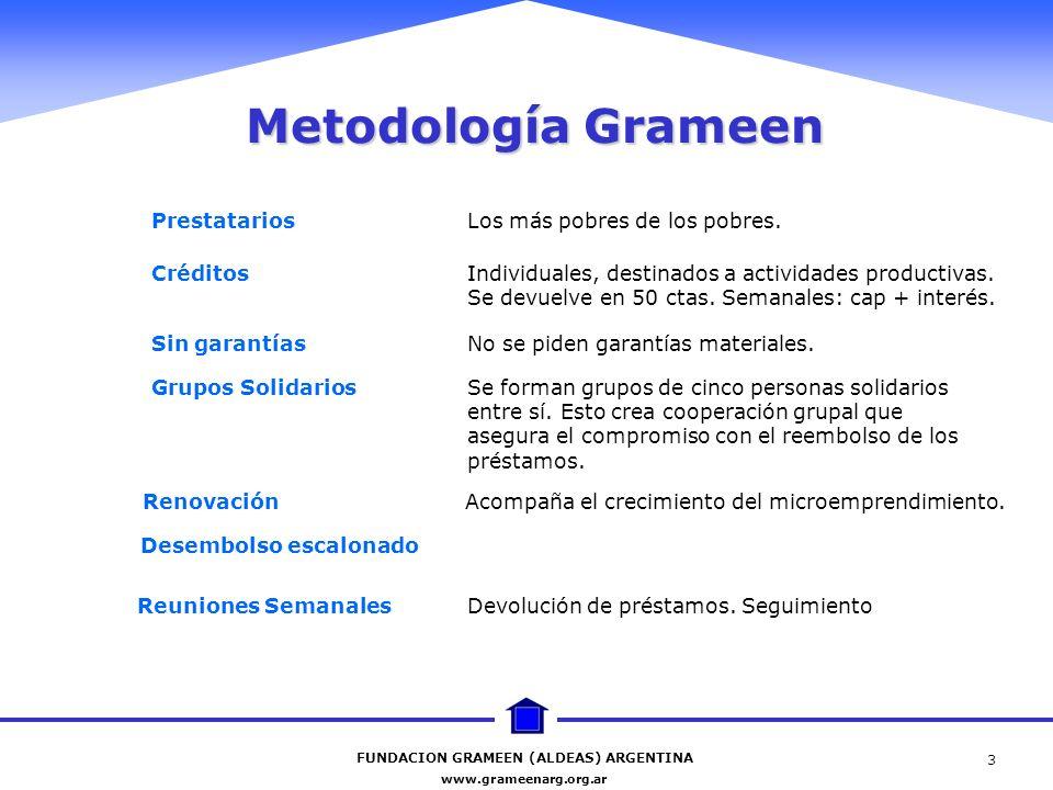 FUNDACION GRAMEEN (ALDEAS) ARGENTINA www.grameenarg.org.ar 3 Metodología Grameen Prestatarios Los más pobres de los pobres. Créditos Individuales, des