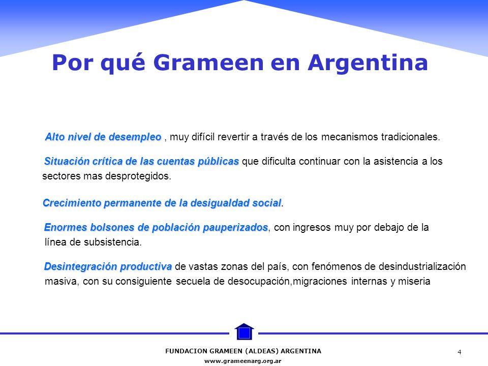 FUNDACION GRAMEEN (ALDEAS) ARGENTINA www.grameenarg.org.ar 4 Por qué Grameen en Argentina Alto nivel de desempleo Situación crítica de las cuentas púb