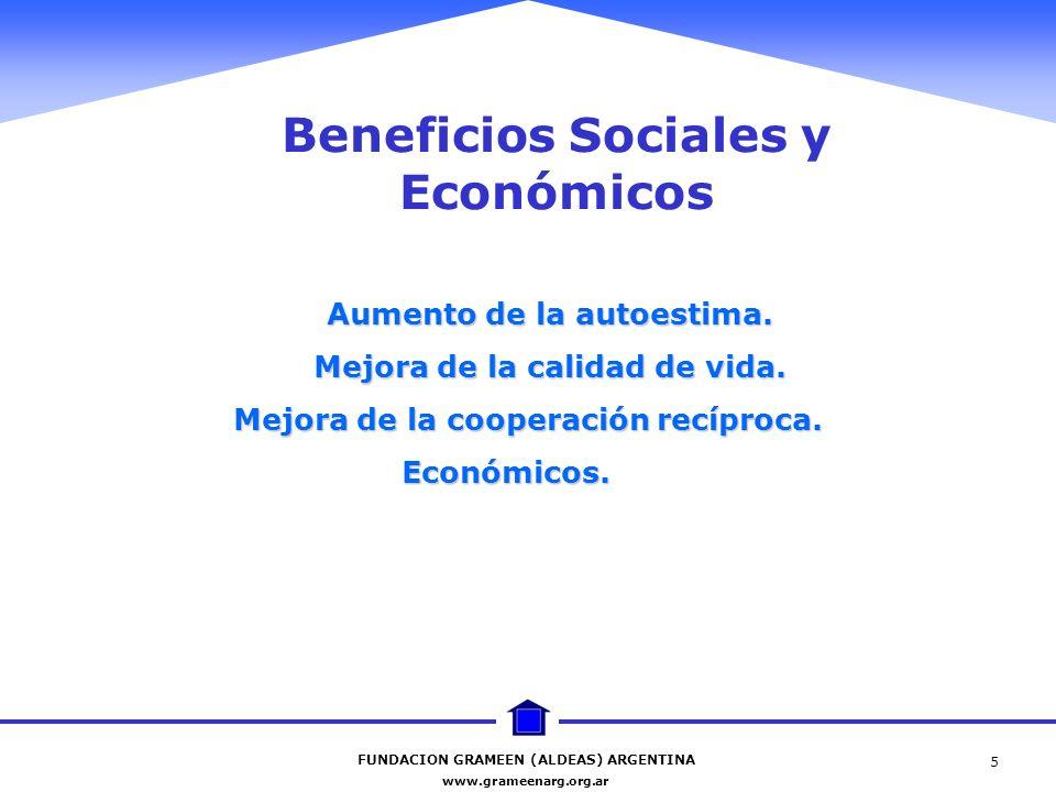 FUNDACION GRAMEEN (ALDEAS) ARGENTINA www.grameenarg.org.ar 5 Beneficios Sociales y Económicos Aumento de la autoestima. Mejora de la calidad de vida.