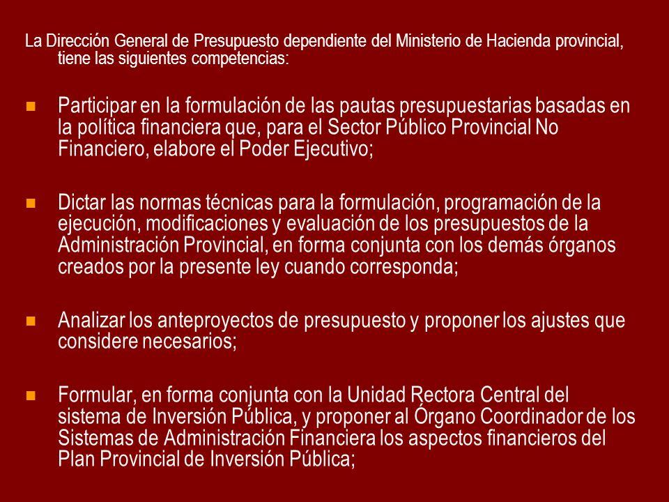 La Dirección General de Presupuesto dependiente del Ministerio de Hacienda provincial, tiene las siguientes competencias: Participar en la formulación