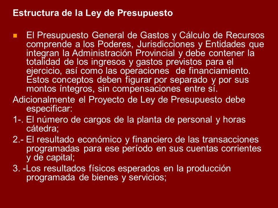 Estructura de la Ley de Presupuesto El Presupuesto General de Gastos y Cálculo de Recursos comprende a los Poderes, Jurisdicciones y Entidades que int