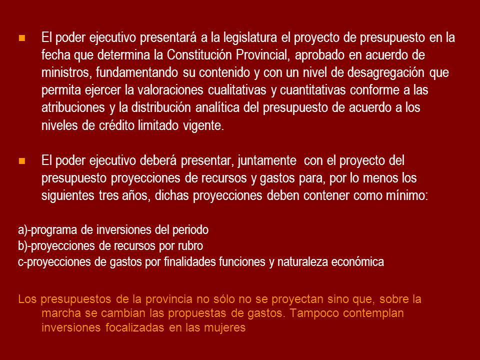 El poder ejecutivo presentará a la legislatura el proyecto de presupuesto en la fecha que determina la Constitución Provincial, aprobado en acuerdo de