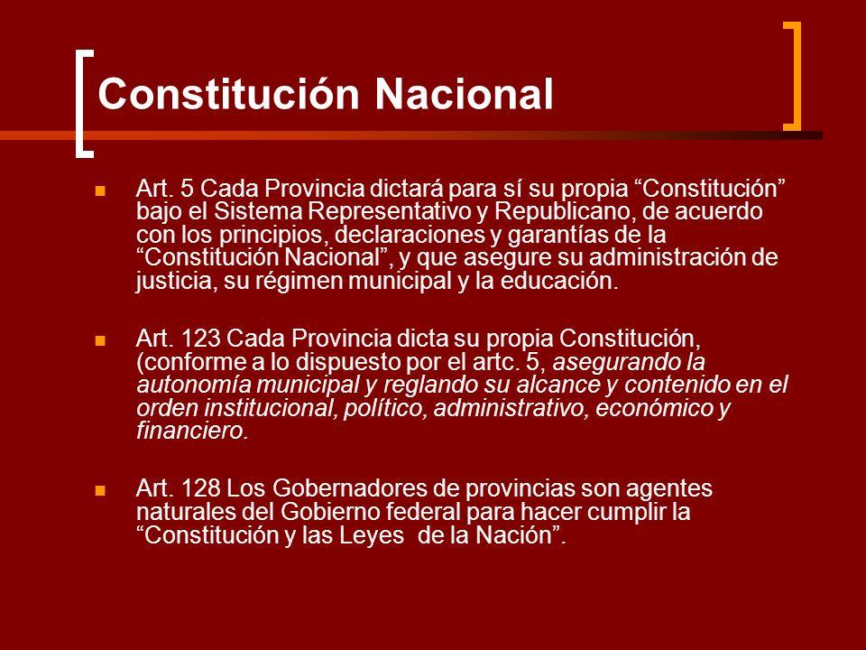 Art. 5 Cada Provincia dictará para sí su propia Constitución bajo el Sistema Representativo y Republicano, de acuerdo con los principios, declaracione