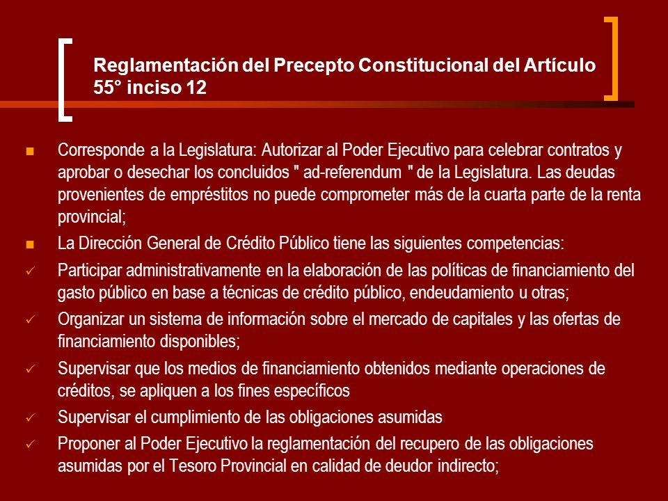 Reglamentación del Precepto Constitucional del Artículo 55° inciso 12 Corresponde a la Legislatura: Autorizar al Poder Ejecutivo para celebrar contrat