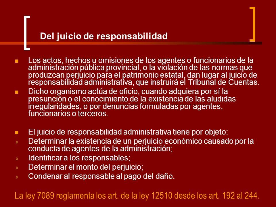Del juicio de responsabilidad Los actos, hechos u omisiones de los agentes o funcionarios de la administración pública provincial, o la violación de l