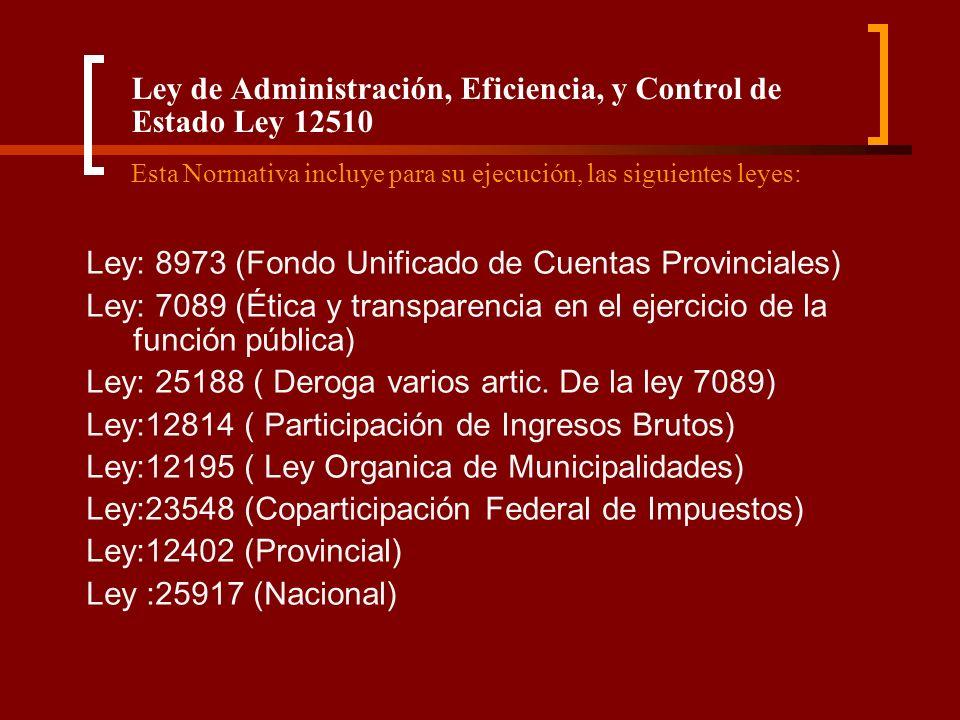 Ley de Administración, Eficiencia, y Control de Estado Ley 12510 Esta Normativa incluye para su ejecución, las siguientes leyes: Ley: 8973 (Fondo Unif