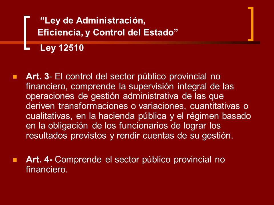 Ley de Administración, Eficiencia, y Control del Estado Ley 12510 Art. 3- El control del sector público provincial no financiero, comprende la supervi
