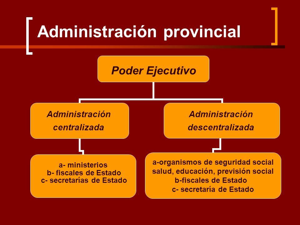 Administración provincial Poder Ejecutivo Administración centralizada a- ministerios b- fiscales de Estado c- secretarías de Estado Administración des