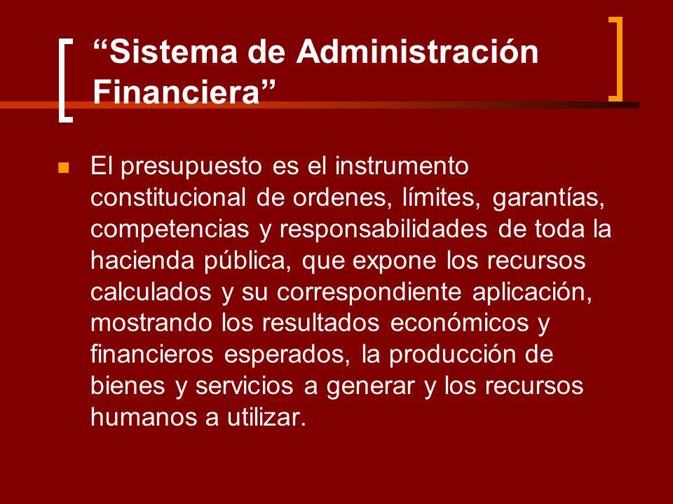 Sistema de Administración Financiera El presupuesto es el instrumento constitucional de ordenes, límites, garantías, competencias y responsabilidades