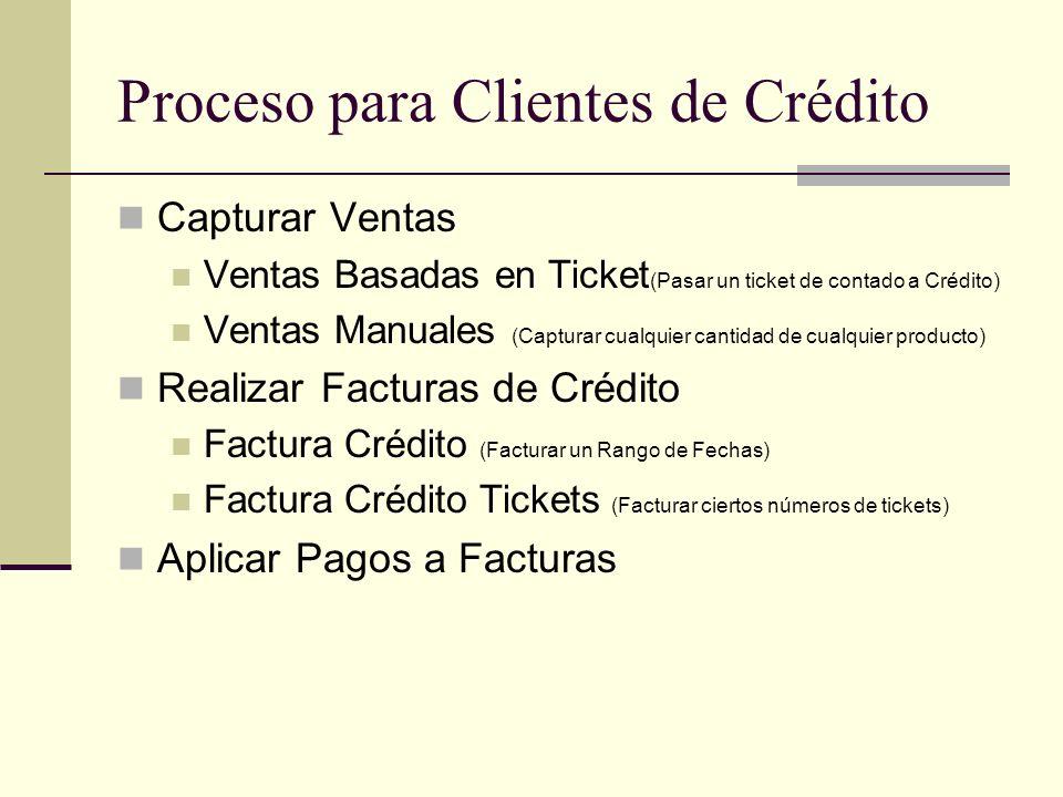 Proceso para Clientes de Crédito Capturar Ventas Ventas Basadas en Ticket (Pasar un ticket de contado a Crédito) Ventas Manuales (Capturar cualquier c