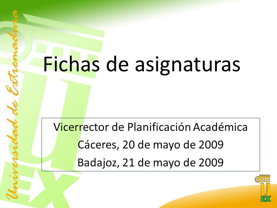 Fichas de asignaturas Vicerrector de Planificación Académica Cáceres, 20 de mayo de 2009 Badajoz, 21 de mayo de 2009