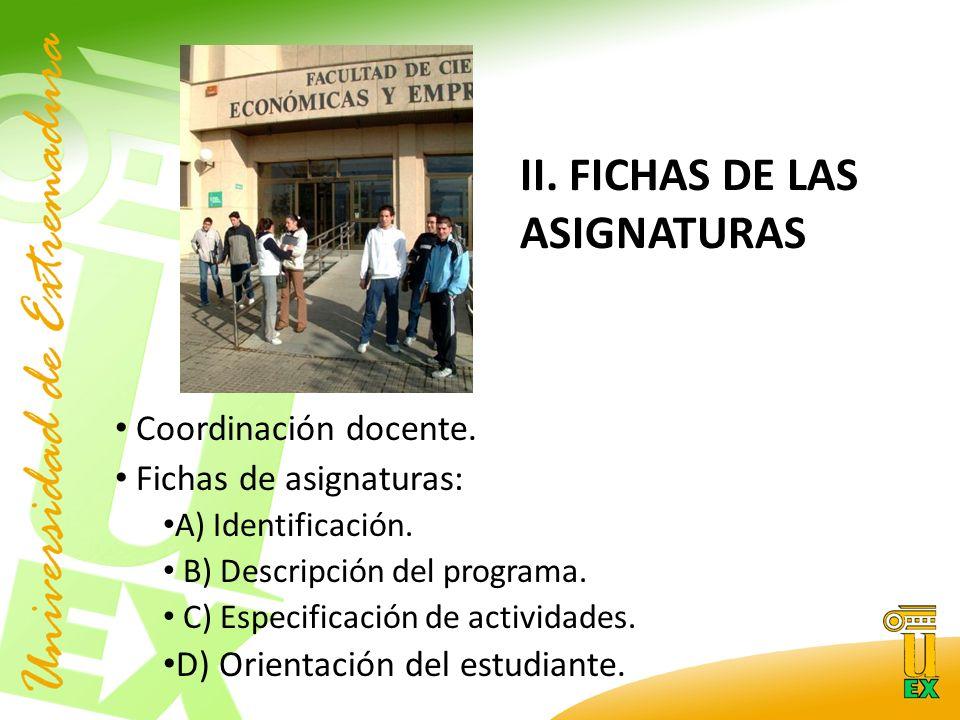 II. FICHAS DE LAS ASIGNATURAS Coordinación docente.