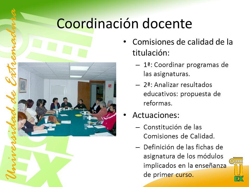 Coordinación docente Comisiones de calidad de la titulación: – 1ª: Coordinar programas de las asignaturas.