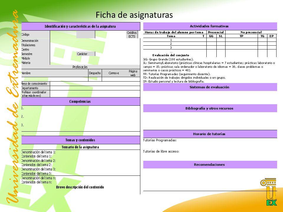 Ficha de asignaturas