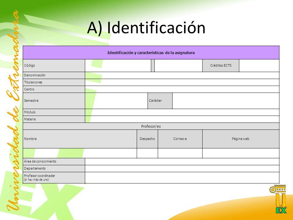 A) Identificación Identificación y características de la asignatura CódigoCréditos ECTS Denominación Titulaciones Centro SemestreCarácter Módulo Materia Profesor/es NombreDespachoCorreo-ePágina web Área de conocimiento Departamento Profesor coordinador (si hay más de uno)