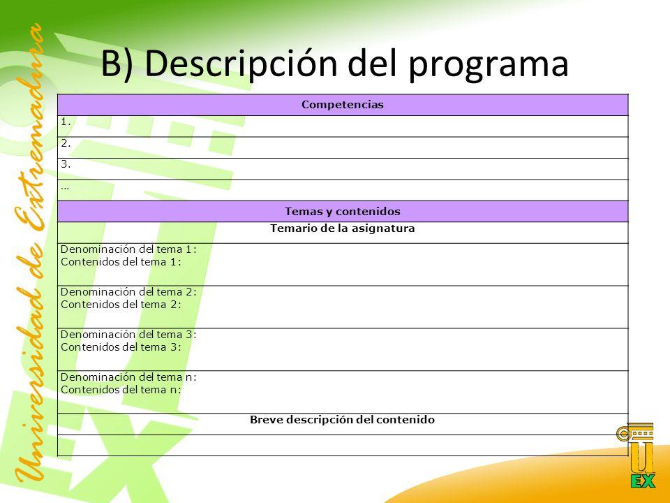 B) Descripción del programa Competencias 1. 2. 3.