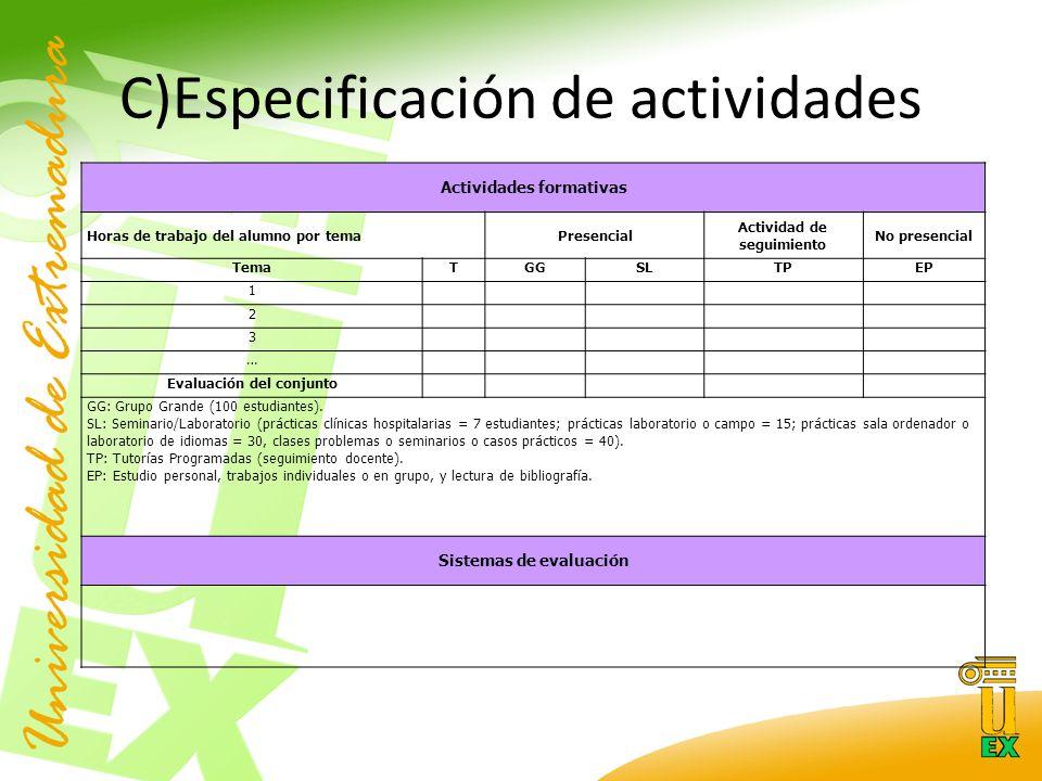 C)Especificación de actividades Actividades formativas Horas de trabajo del alumno por temaPresencial Actividad de seguimiento No presencial TemaTGGSLTPEP 1 2 3 … Evaluación del conjunto GG: Grupo Grande (100 estudiantes).