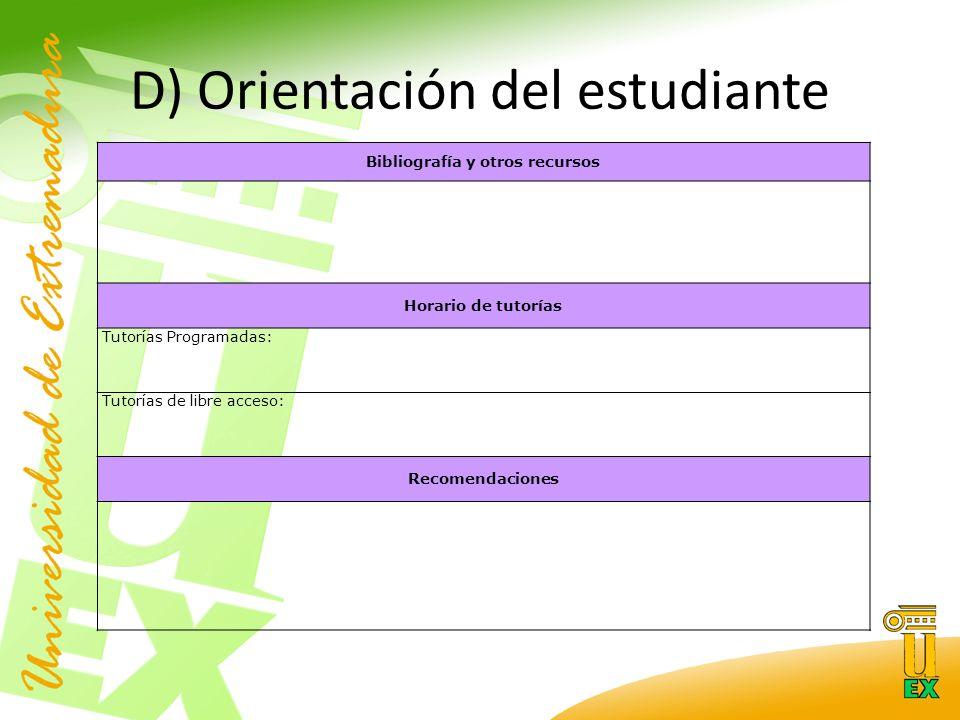 D) Orientación del estudiante Bibliografía y otros recursos Horario de tutorías Tutorías Programadas: Tutorías de libre acceso: Recomendaciones