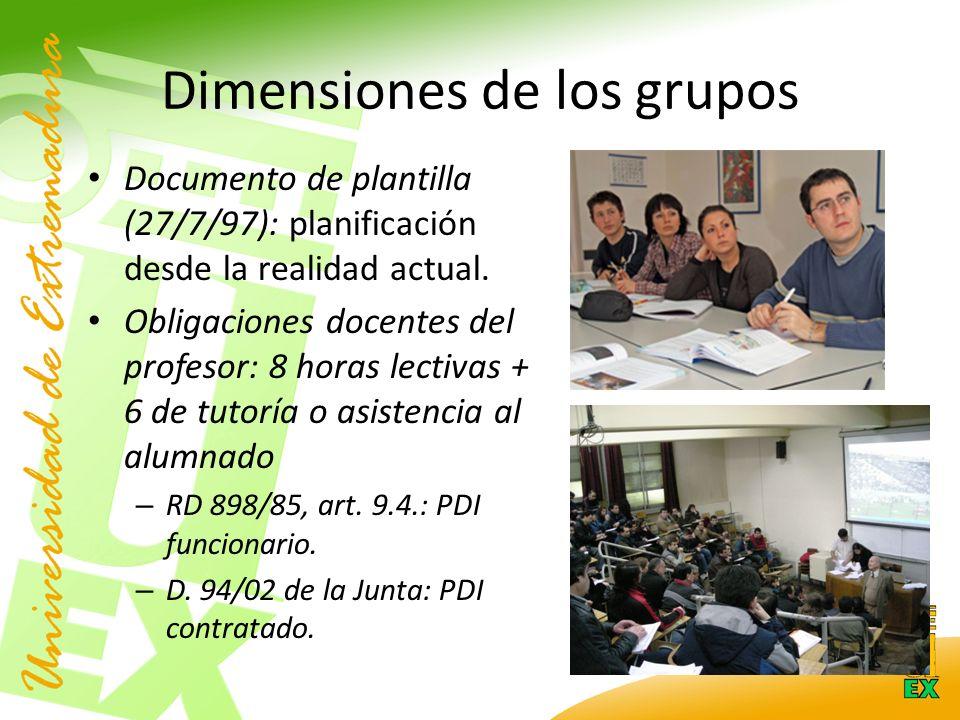 Dimensiones de los grupos Documento de plantilla (27/7/97): planificación desde la realidad actual.