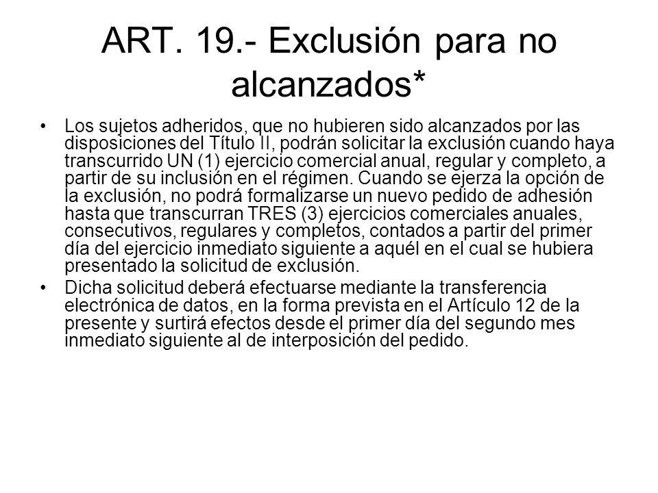 ART. 19.- Exclusión para no alcanzados* Los sujetos adheridos, que no hubieren sido alcanzados por las disposiciones del Título II, podrán solicitar l