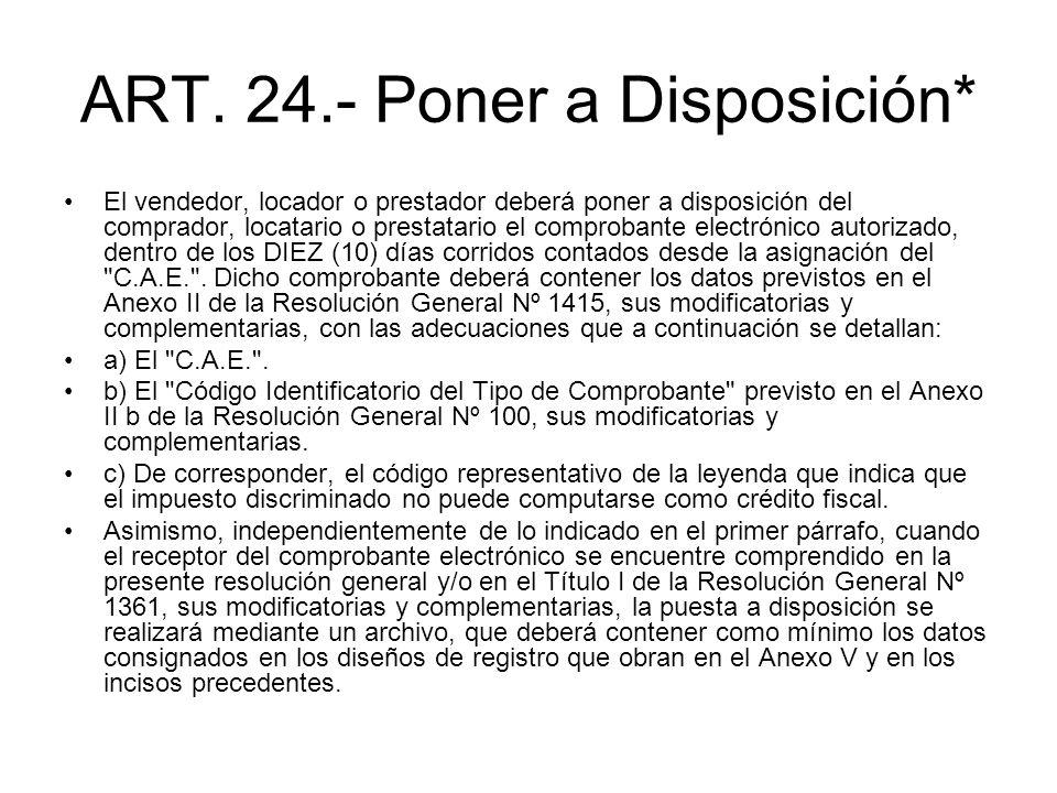 ART. 24.- Poner a Disposición* El vendedor, locador o prestador deberá poner a disposición del comprador, locatario o prestatario el comprobante elect