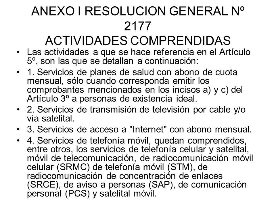 ANEXO I RESOLUCION GENERAL Nº 2177 ACTIVIDADES COMPRENDIDAS Las actividades a que se hace referencia en el Artículo 5º, son las que se detallan a cont
