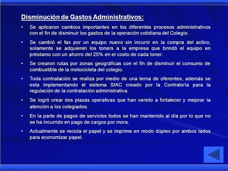 Disminución de Gastos Administrativos: Se aplicaron cambios importantes en los diferentes procesos administrativos con el fin de disminuir los gastos de la operación cotidiana del Colegio.