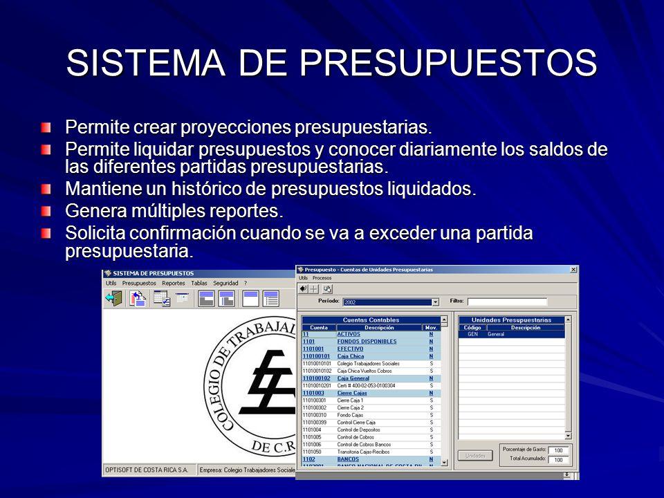 SISTEMA DE PRESUPUESTOS Permite crear proyecciones presupuestarias.