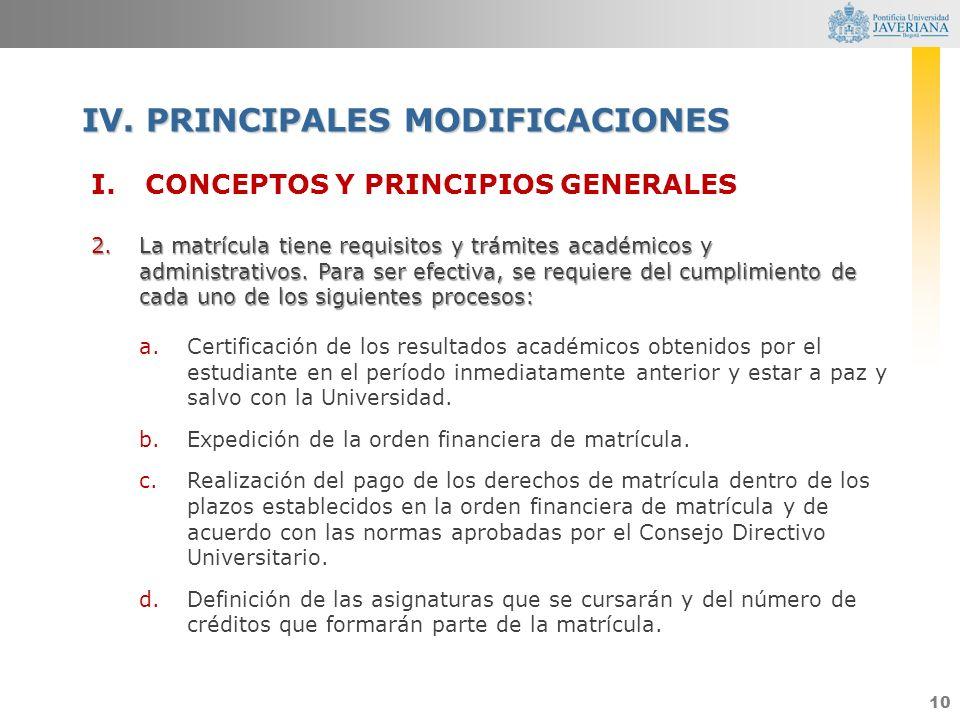 10 I.CONCEPTOS Y PRINCIPIOS GENERALES 2.La matrícula tiene requisitos y trámites académicos y administrativos. Para ser efectiva, se requiere del cump
