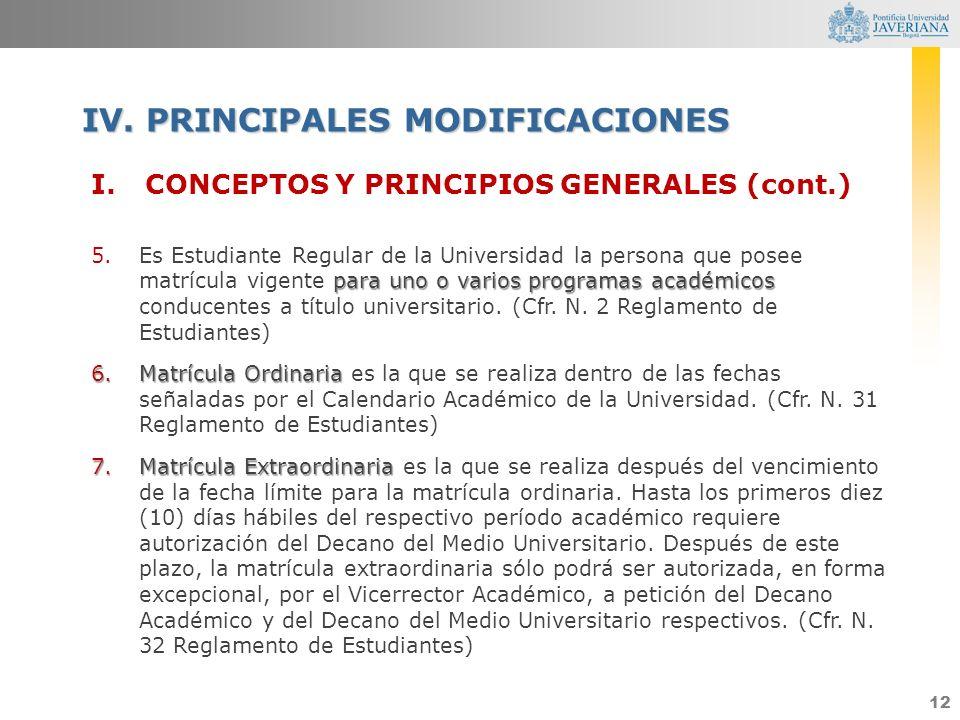 12 I.CONCEPTOS Y PRINCIPIOS GENERALES (cont.) para uno o varios programas académicos 5.Es Estudiante Regular de la Universidad la persona que posee ma