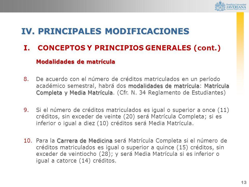 13 I.CONCEPTOS Y PRINCIPIOS GENERALES (cont.) Modalidades de matrícula modalidades de matrículaMatrícula Completa y Media Matrícula 8.De acuerdo con e