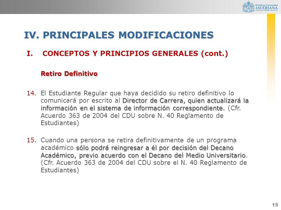 15 I.CONCEPTOS Y PRINCIPIOS GENERALES (cont.) Retiro Definitivo Director de Carrera, quien actualizará la información en el sistema de información cor