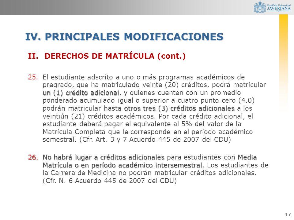 17 II.DERECHOS DE MATRÍCULA (cont.) un (1) crédito adicional otros tres (3) créditos adicionales 25.El estudiante adscrito a uno o más programas acadé