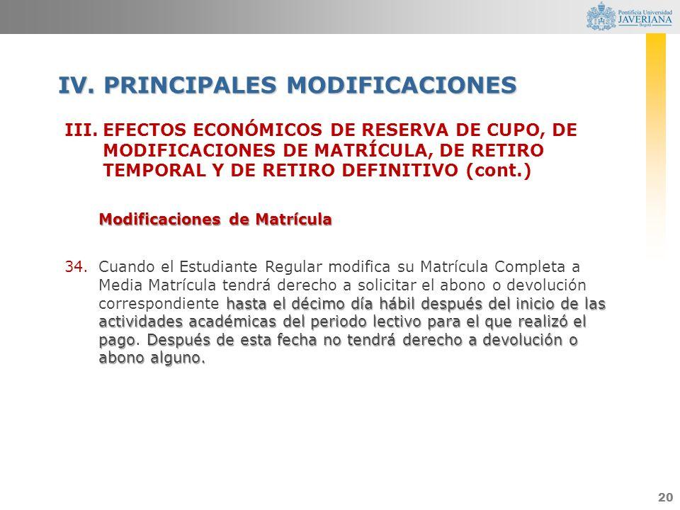 20 III.EFECTOS ECONÓMICOS DE RESERVA DE CUPO, DE MODIFICACIONES DE MATRÍCULA, DE RETIRO TEMPORAL Y DE RETIRO DEFINITIVO (cont.) Modificaciones de Matr