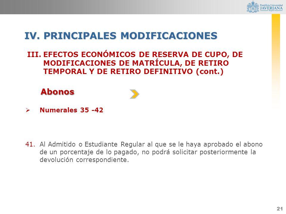 21 III.EFECTOS ECONÓMICOS DE RESERVA DE CUPO, DE MODIFICACIONES DE MATRÍCULA, DE RETIRO TEMPORAL Y DE RETIRO DEFINITIVO (cont.) IV. PRINCIPALES MODIFI