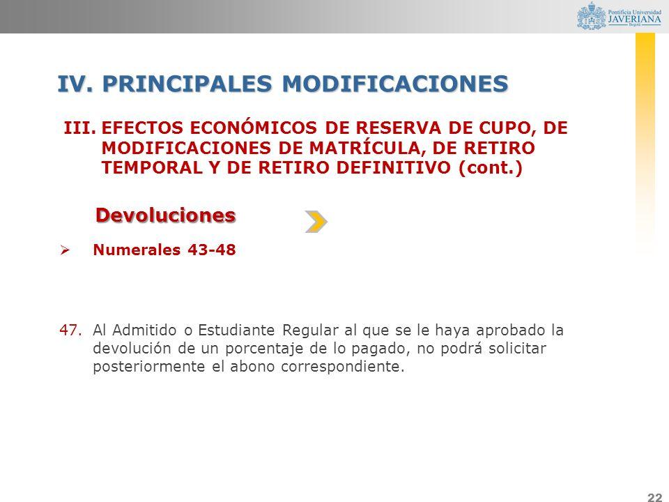 22 III.EFECTOS ECONÓMICOS DE RESERVA DE CUPO, DE MODIFICACIONES DE MATRÍCULA, DE RETIRO TEMPORAL Y DE RETIRO DEFINITIVO (cont.) IV. PRINCIPALES MODIFI