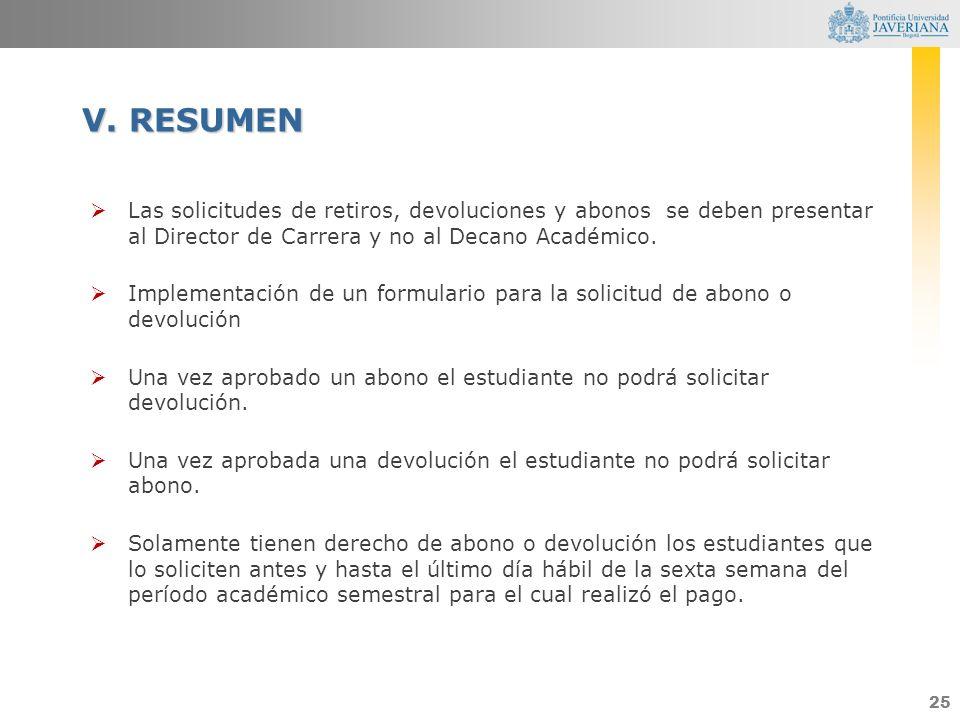 25 Las solicitudes de retiros, devoluciones y abonos se deben presentar al Director de Carrera y no al Decano Académico. Implementación de un formular