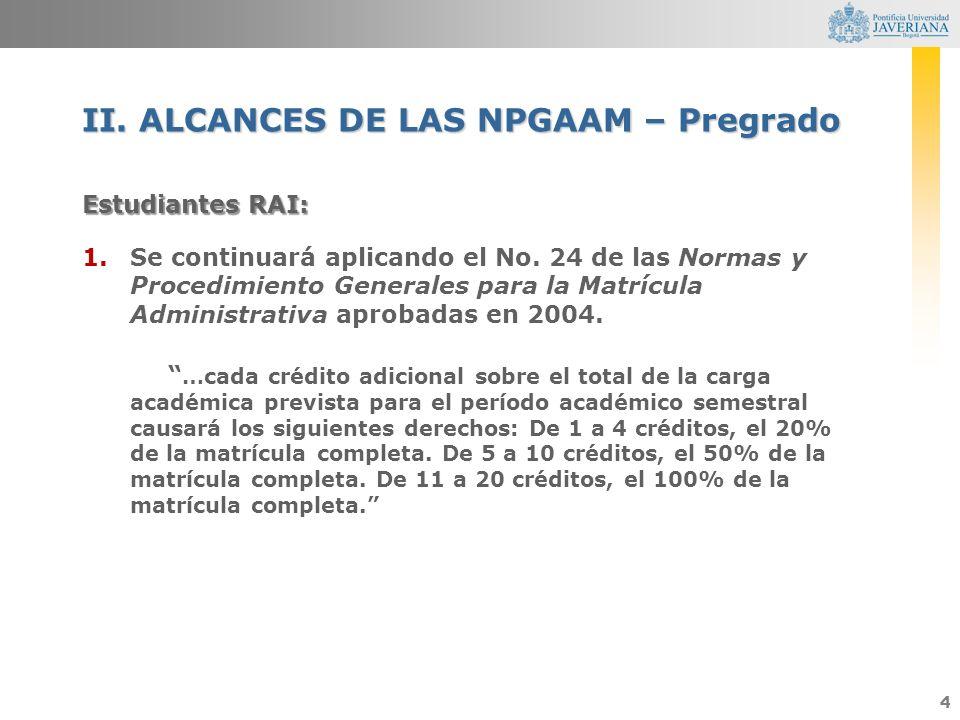 4 Estudiantes RAI: 1.Se continuará aplicando el No. 24 de las Normas y Procedimiento Generales para la Matrícula Administrativa aprobadas en 2004. …ca