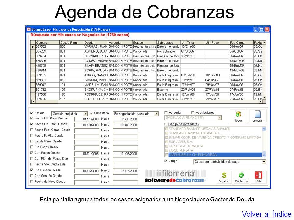 Agenda de Cobranzas Esta pantalla agrupa todos los casos asignados a un Negociador o Gestor de Deuda Volver al Índice