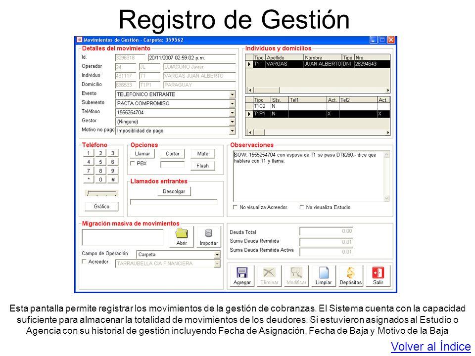 Registro de Gestión Esta pantalla permite registrar los movimientos de la gestión de cobranzas. El Sistema cuenta con la capacidad suficiente para alm
