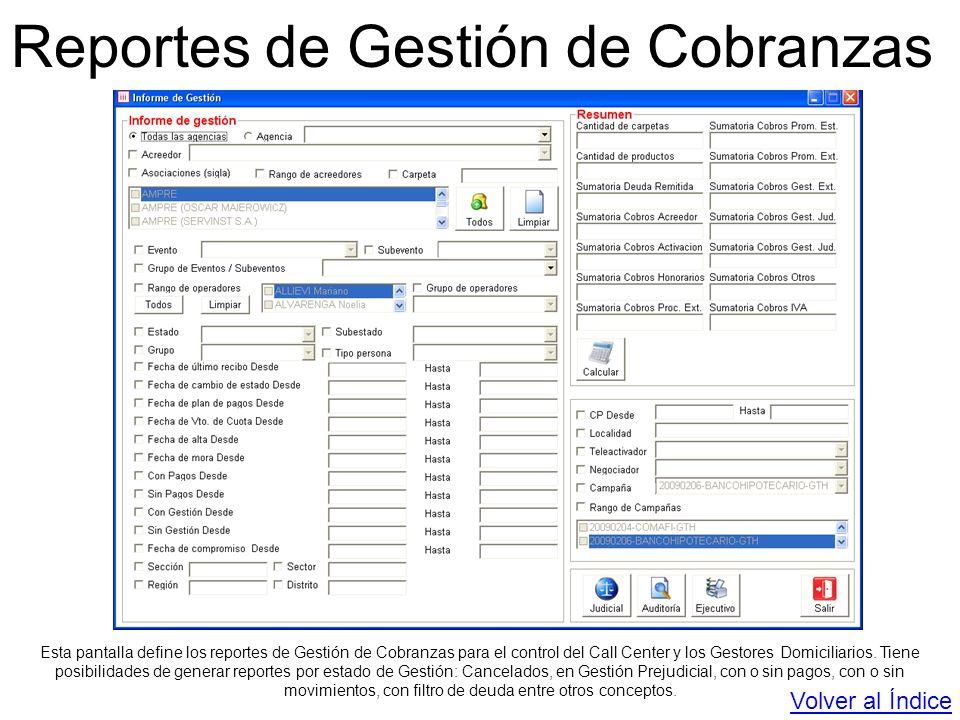 Reportes de Gestión de Cobranzas Esta pantalla define los reportes de Gestión de Cobranzas para el control del Call Center y los Gestores Domiciliario