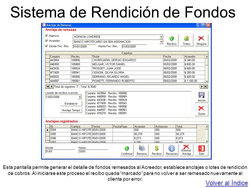 Sistema de Rendición de Fondos Esta pantalla permite generar el detalle de fondos remesados al Acreedor, establece anclajes o lotes de rendición de co