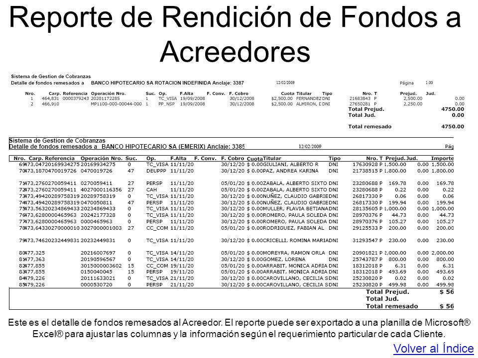 Reporte de Rendición de Fondos a Acreedores Este es el detalle de fondos remesados al Acreedor. El reporte puede ser exportado a una planilla de Micro