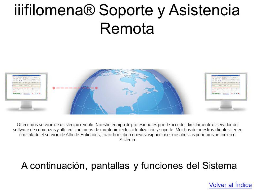iiifilomena® Soporte y Asistencia Remota Ofrecemos servicio de asistencia remota. Nuestro equipo de profesionales puede acceder directamente al servid