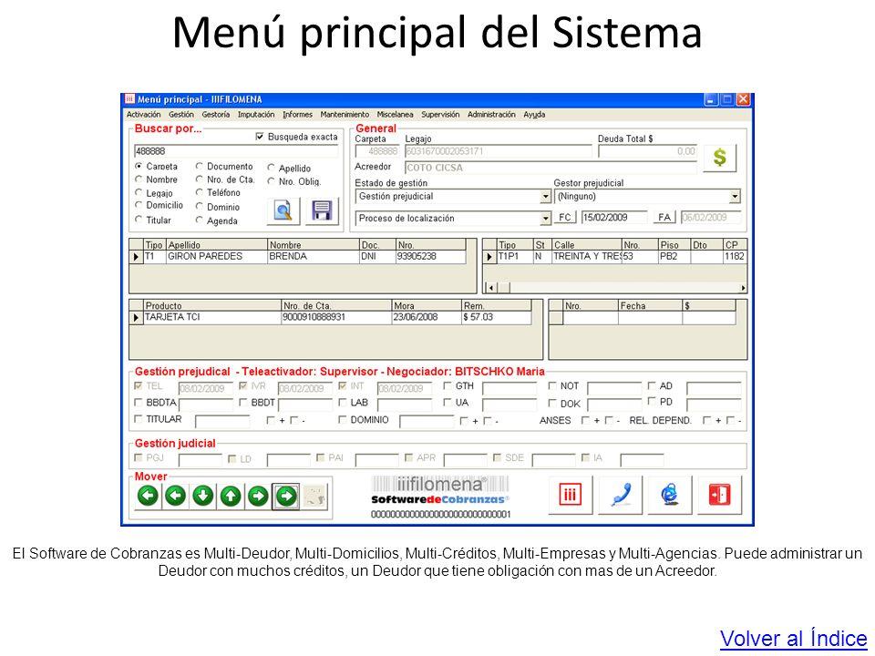 Menú principal del Sistema El Software de Cobranzas es Multi-Deudor, Multi-Domicilios, Multi-Créditos, Multi-Empresas y Multi-Agencias. Puede administ