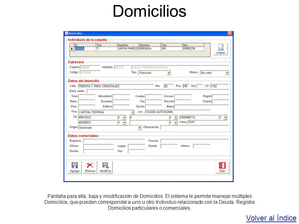 Domicilios Pantalla para alta, baja y modificación de Domicilios. El sistema le permite manejar múltiples Domicilios, que pueden corresponder a uno u