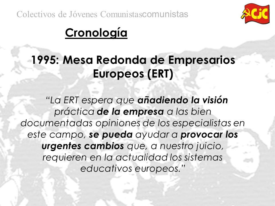 Cronología Colectivos de Jóvenes Comunistas 1995: Mesa Redonda de Empresarios Europeos (ERT) El objetivo de este informe es simplemente presentar la visión de los empresarios respecto a cómo ellos creen que los procesos de educación y aprendizaje en su conjunto pueden adaptarse para responder de una manera más efectiva a los retos económicos y sociales del momento
